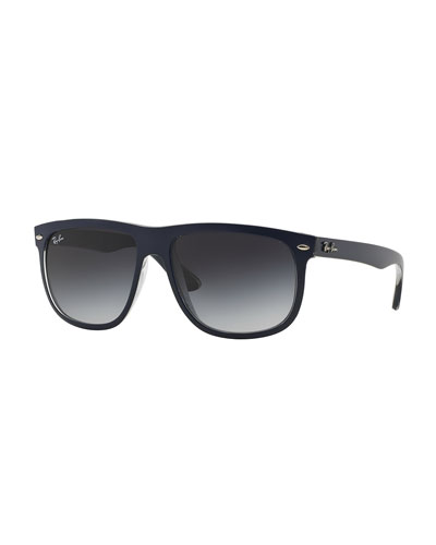 Flat-Top Plastic Sunglasses, Blue/Gray