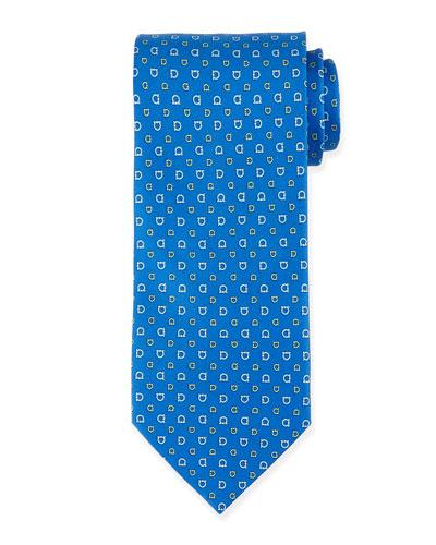 Gancini-Print Silk Tie, Blue