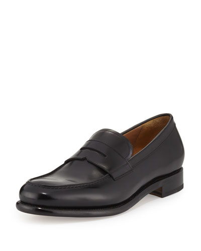 Tramezza Calfskin Penny Loafer, Black