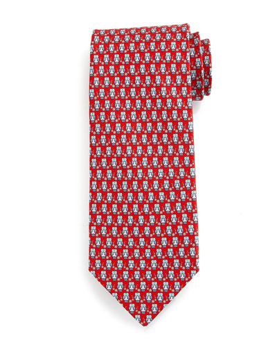 Owl-Print Silk Tie, Red/Blue