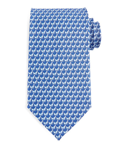Cricket-Print Silk Tie, Blue