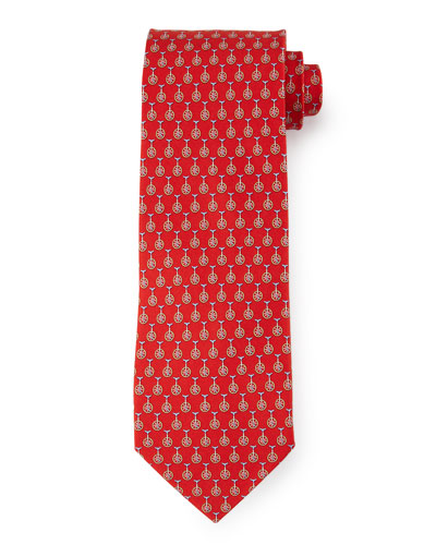 Unicycle-Print Silk Tie, Red