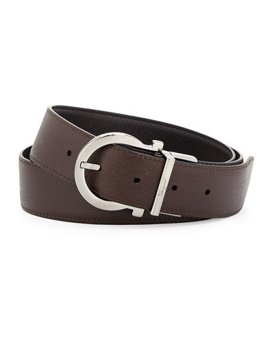 Reversible Gancio-Buckle Belt, Black/Light Brown