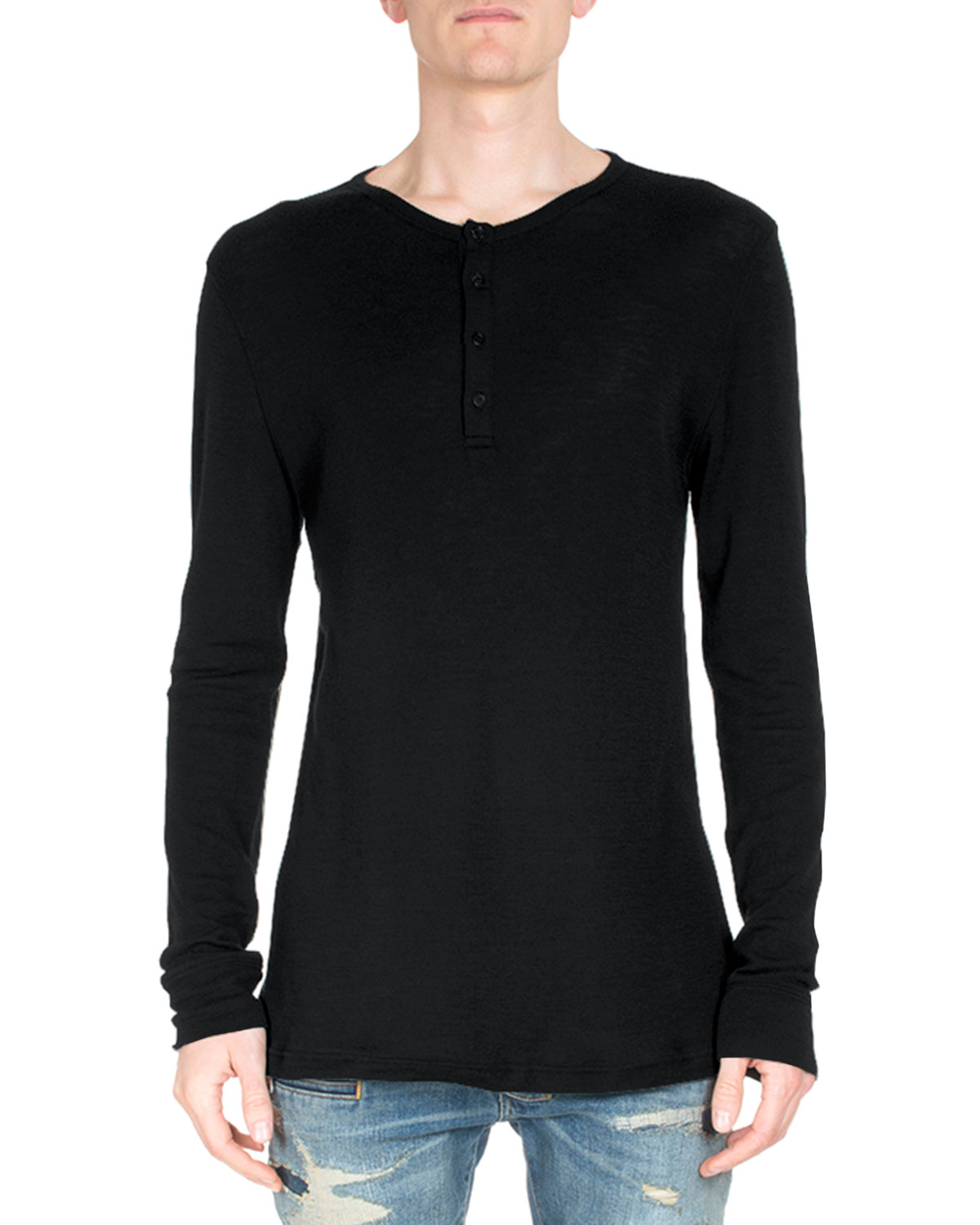 Long-Sleeve Henley T-Shirt, Black