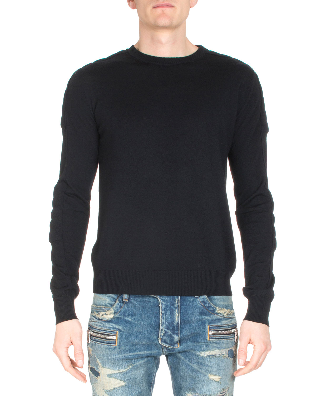 Crewneck Long-Sleeve Sweater, Navy