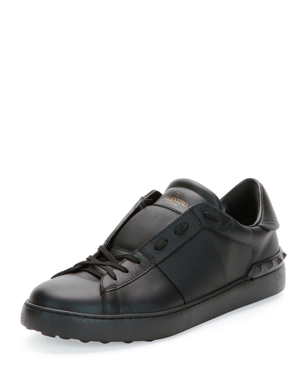 Low-Top Sneaker with Tonal Stripe, Black