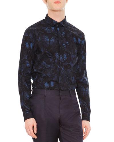Camo Butterfly-Print Button-Front Shirt, Navy