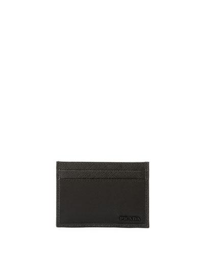 Nylon/Leather Card Case, Black