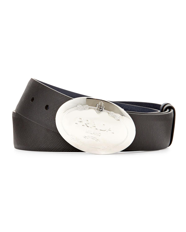 Reversible Saffiano Logo Belt