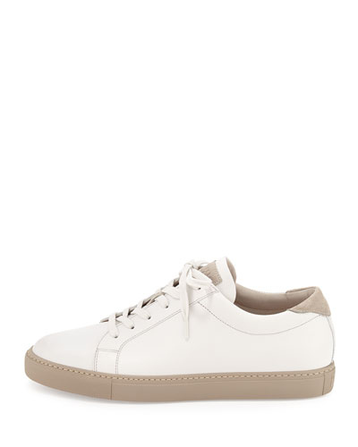 Leather Lace-Up Sneaker, White
