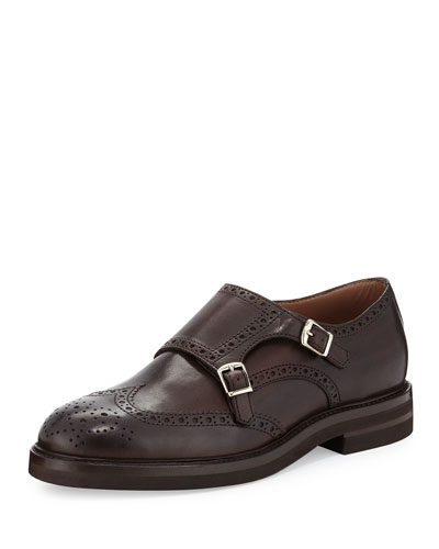 Leather Monk-Strap Wing-Tip Loafer, Brown