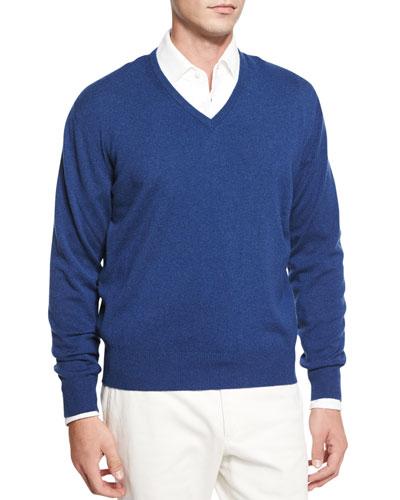 Baby Cashmere V-Neck Sweater, Indigo