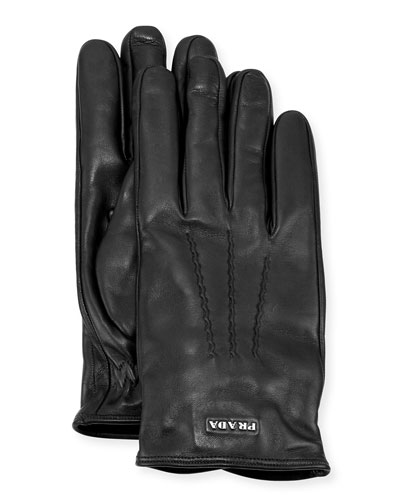 Napa Leather Gloves w/ Logo, Black (Nero)