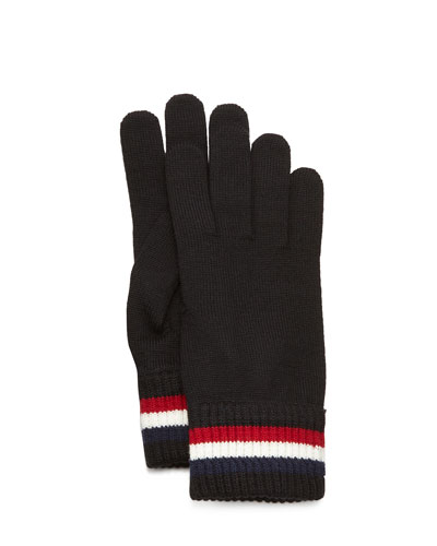 Striped Logo Cashmere Knit Gloves, Black