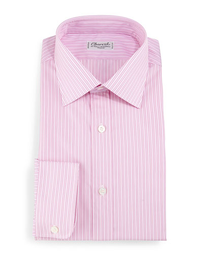 Striped Barrel-Cuff Dress Shirt, Pink