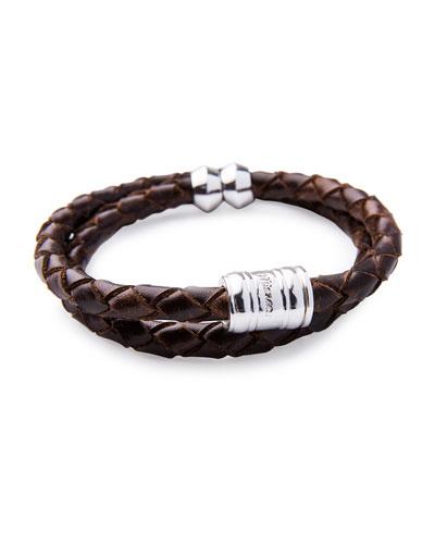 Men's Woven Leather Bracelet, Brown/Silvertone