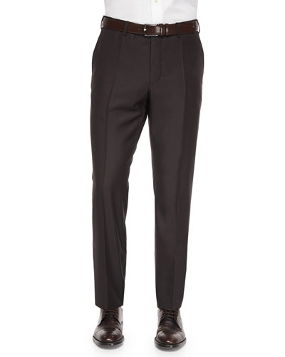 Benson Sharkskin Wool Trousers, Dark Brown