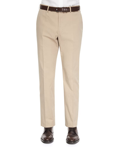 Straight-Leg Cotton Trousers, Khaki