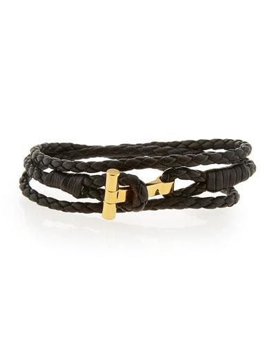 Men's Leather T Wrap Bracelet, Small