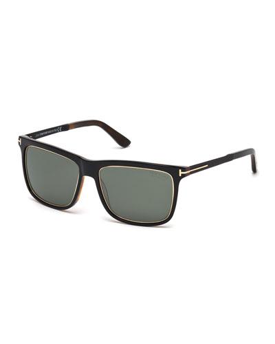 Shiny Metal Sunglasses, Black/Havana