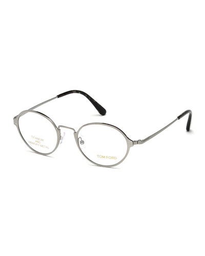 Round Metal Eyeglasses, Gray/Black