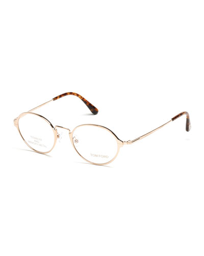 Round Metal Eyeglasses, Rose Gold/Brown