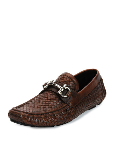 Braided Calfskin Gancini Driver, Antiqued Brown