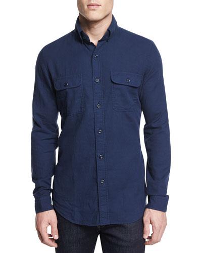 Flannel Long-Sleeve Sport Shirt, Bright Navy