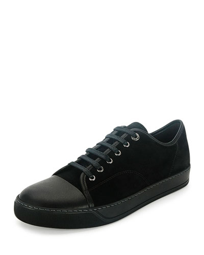 Men's Cap-Toe Leather Low-Top Sneaker, Black
