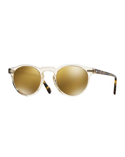 Gregory Peck 47 Round Sunglasses, Yellow