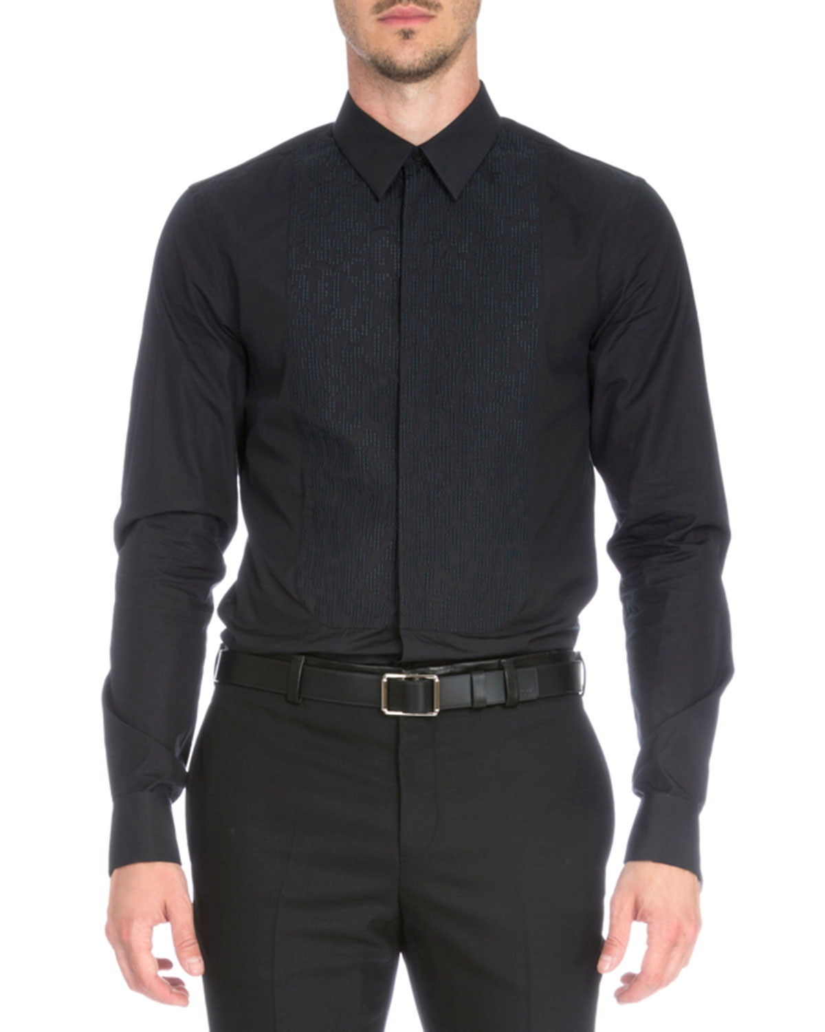 Leo Embroidered-Bib Tuxedo Shirt, Black