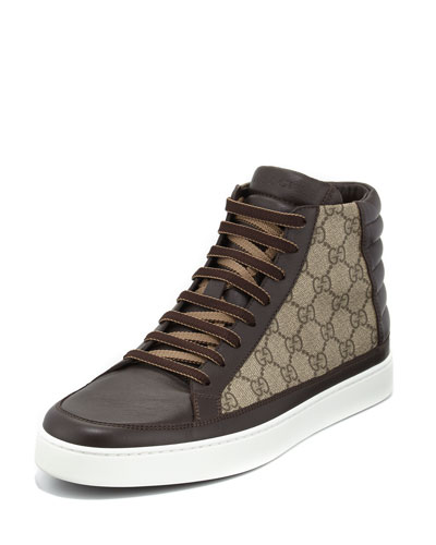 GG Supreme Canvas High-Top Sneaker, Brown