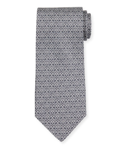 Large Gancini-Print Silk Tie
