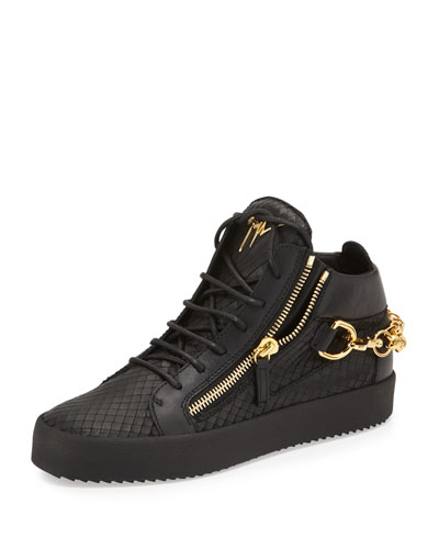 Embossed Python Mid-Top Leather Sneaker, Black