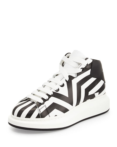 Stripe-Print Leather High-Top Sneaker, Black/White