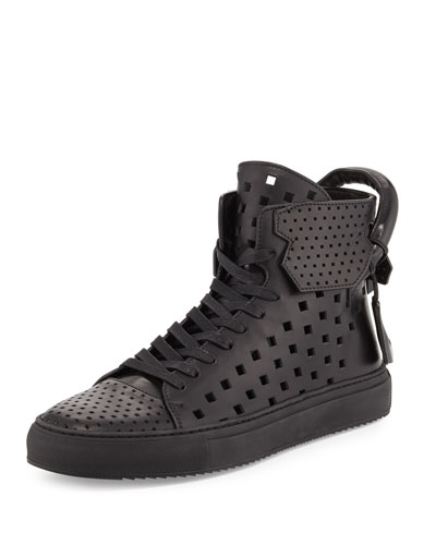 Men's 125mm Perforated Leather High-Top Sneaker, Black