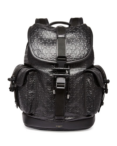 Trident Star-Embossed Leather Backpack, Black