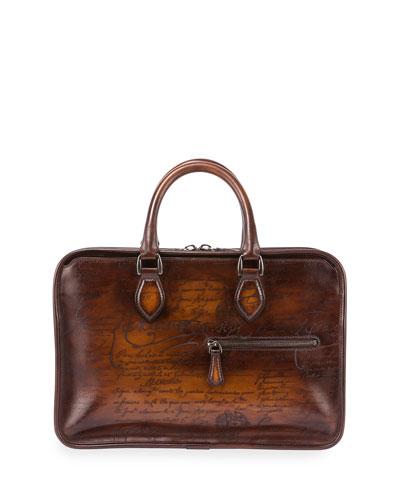 Scritto Mini Leather Briefcase, Brown