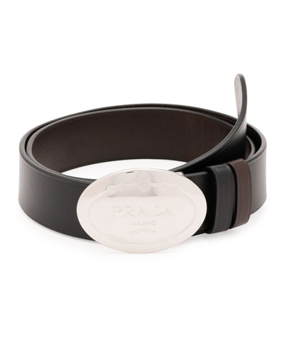 Oval Logo Reversible Leather Belt, Black/Brown