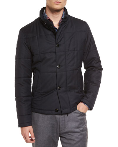 Square-Quilted Button-Down Shirt Jacket, Navy