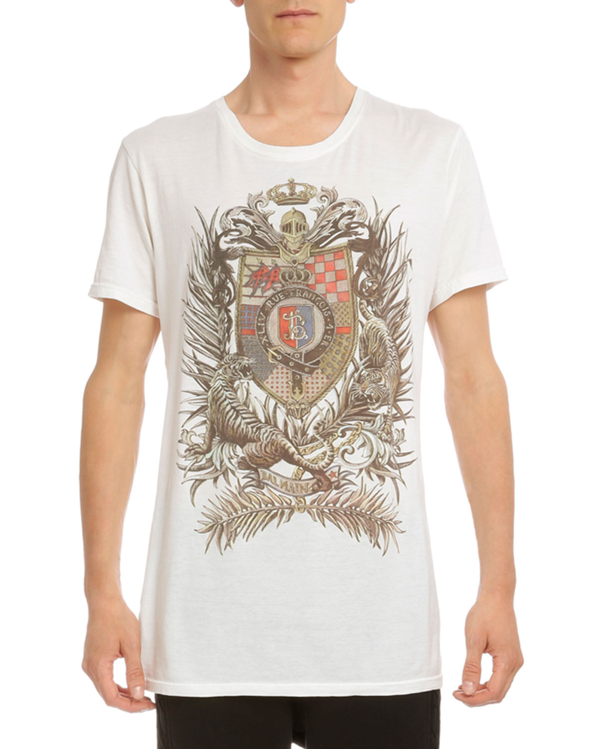 Crest-Print Cotton T-Shirt, White
