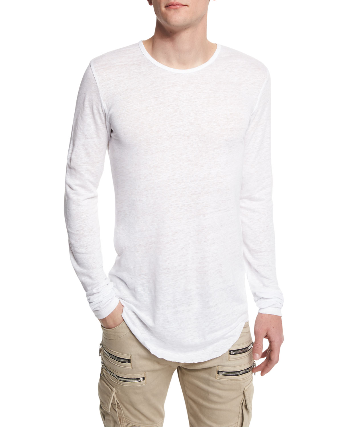 Long-Sleeve Linen Crewneck Shirt, White