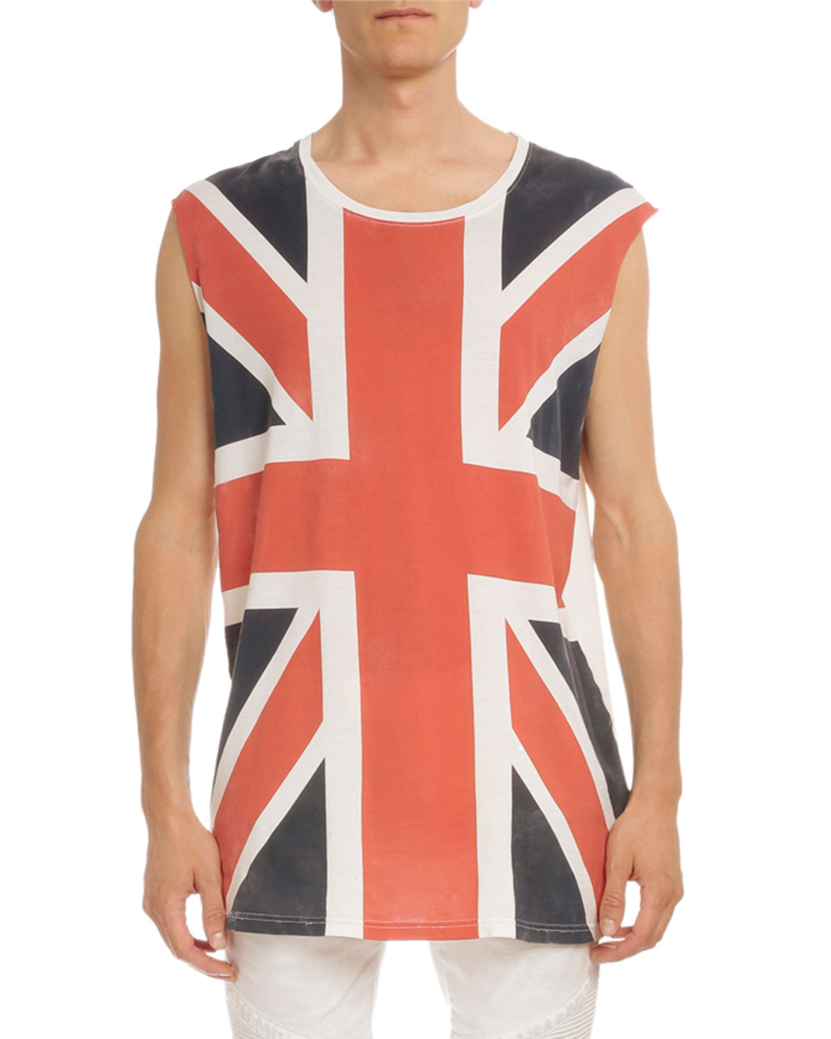 Cotton Union Jack Muscle T-Shirt, Blue/Red