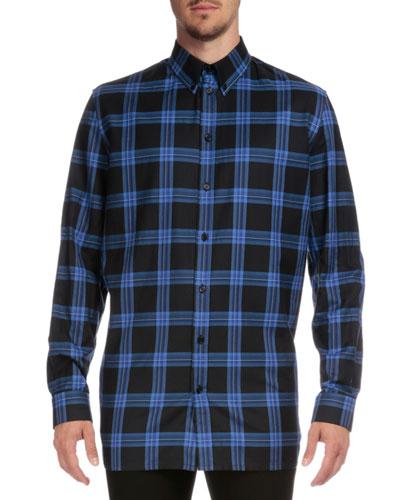 Columbian-Fit Plaid Long-Sleeve Shirt, Blue