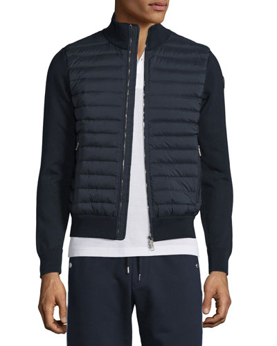 Quilted Jersey Track Jacket with Nylon Front, Navy