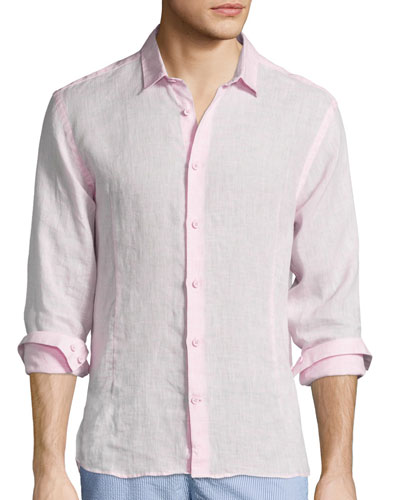 Morton Long-Sleeve Linen Shirt, Pink