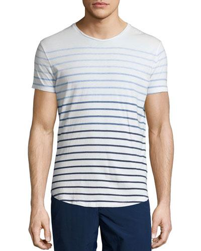 Gradient-Stripe Short-Sleeve T-Shirt, White/Blue