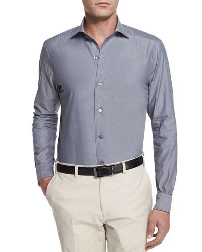 Solid Chambray Long-Sleeve Shirt, Dark Gray