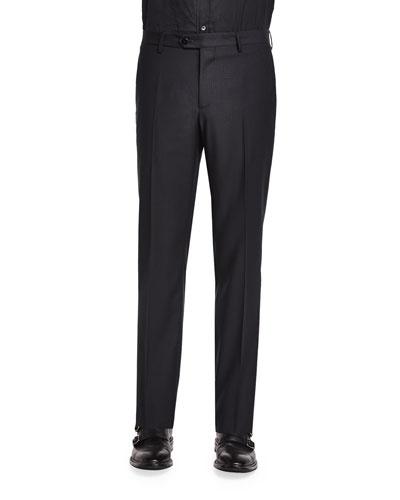 Mini Jacquard Evening Trousers, Black