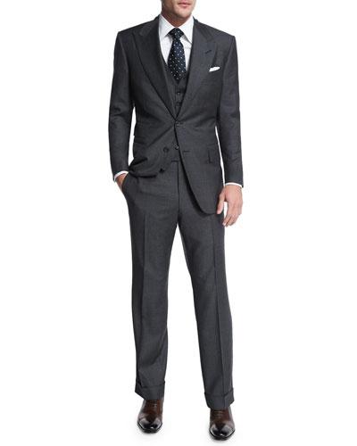 Windsor Base Sharkskin Three-Piece Suit, Charcoal